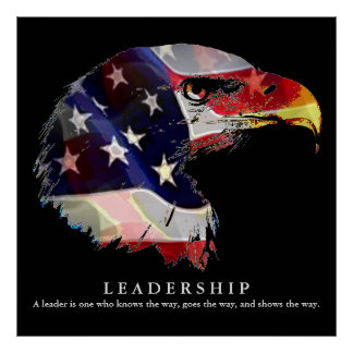 Pop Art American Flag Eagle Leadership Poster