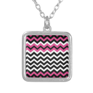 Pop Art Black and Pink Zigzags Square Pendant Necklace
