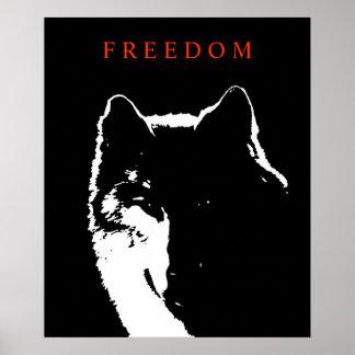 Pop Art Black White Motivational Wolf Poster