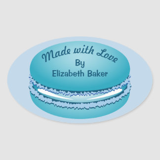 Pop Art Blue Macaron Cookie Personalized Oval Sticker