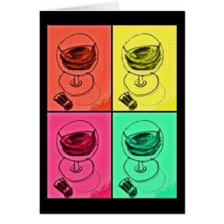 POP ART BRIGHT WINE GLASS PRINT CARD