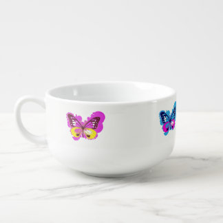 Pop Art Butterfly Soup Bowl