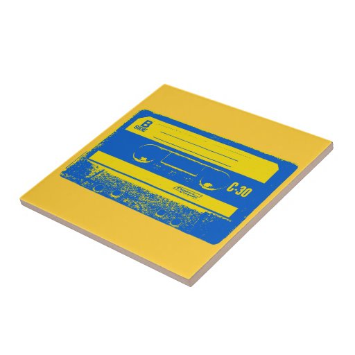 Pop Art Cassette Tape Graphic in Yellow & Blue Tiles