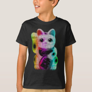 Pop Art Circles Lucky Cat - Maneki Neko T-Shirt