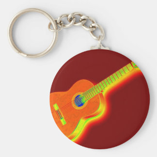 Pop Art Classical Guitar Basic Round Button Key Ring