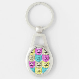 pop art color cat Silver-Colored oval key ring