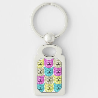 pop art color cat Silver-Colored rectangle key ring