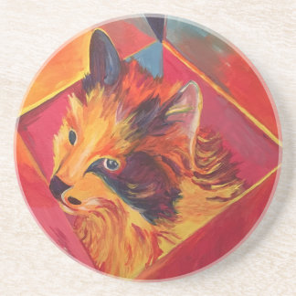 POP ART COLORFUL CAT COASTER