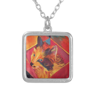 POP ART COLORFUL CAT SILVER PLATED NECKLACE