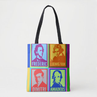 Pop Art Colorful Composers Tote Bag