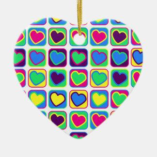 Pop art colorful hearts ornament
