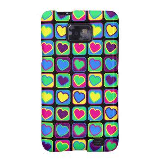 Pop art colorful hearts Samsung Galaxy Case Samsung Galaxy SII Case