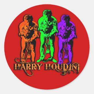Pop Art Colorful Houdini Triple Image Round Sticker