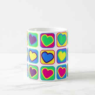 pop art colourful hearts mug