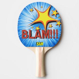 Pop Art Comic Style Blam! Personalized Superhero Ping Pong Paddle