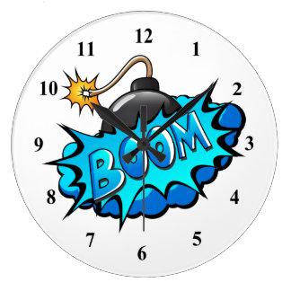 Pop Art Comic Style Bomb Boom! Large Clock