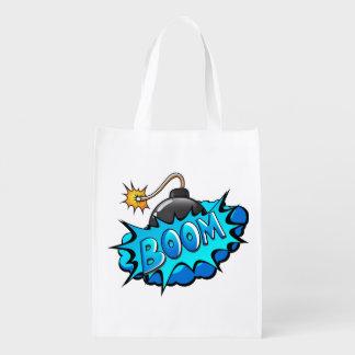 Pop Art Comic Style Bomb Boom! Reusable Grocery Bag