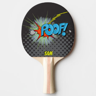 Pop Art Comic Style Poof! Personalized Superhero Ping Pong Paddle