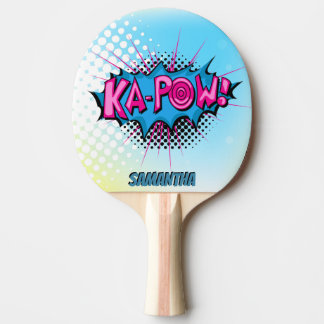Pop Art Comic Style Superhero Ka-pow! Personalized Ping Pong Paddle