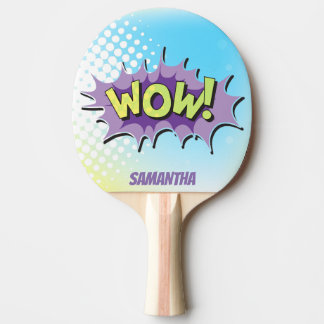 Pop Art Comic Style Superhero Wow! Personalized Ping Pong Paddle