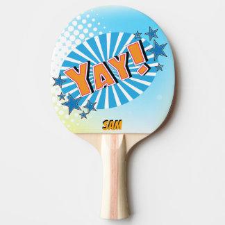Pop Art Comic Style Superhero Yay! Personalized Ping Pong Paddle