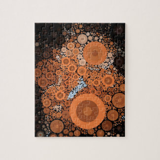 Pop Art Concentric Circles Floral Orange Puzzle