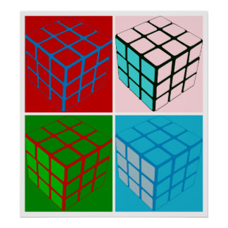 Pop art cubes poster