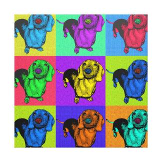 Pop Art Dachshund Panels Canvas Print