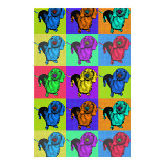 Pop Art Dachshund Panels Stationery