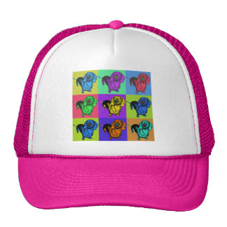 Pop Art Dachsund Doxie Panels Multi-Color Popart Hats