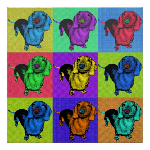 Pop Art Dachsund Doxie Panels Multi-Color Popart Posters