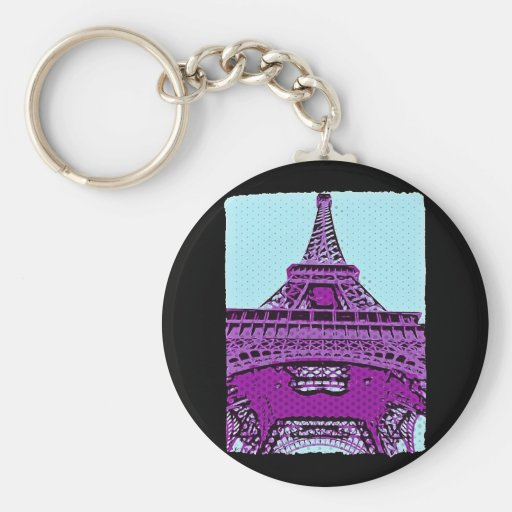 Pop Art Eiffel Tower Keychain