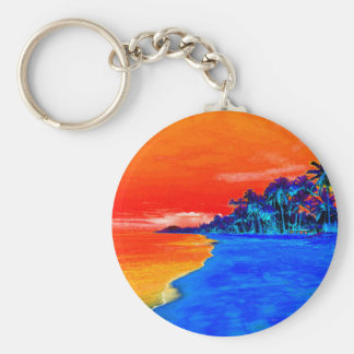 Pop Art Exotic Beach Palm Trees Basic Round Button Key Ring