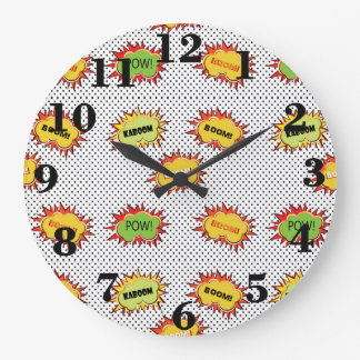 pop art explosion on black and white polka large clock