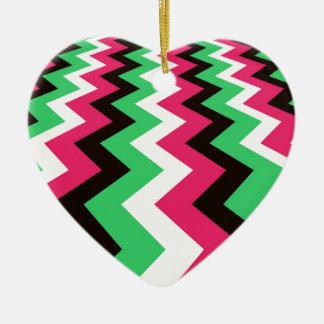 Pop Art Fast Lane Chevron Design Ceramic Heart Decoration