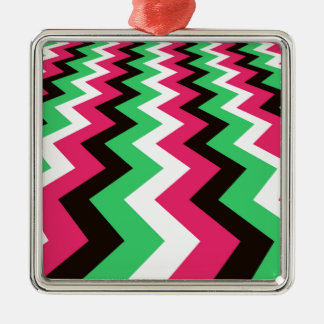 Pop Art Fast Lane Chevron Design Silver-Colored Square Decoration