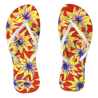 Pop Art Floral Red and Yellow Flip Flops