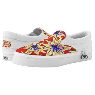 Pop Art Floral Red and Yellow Slip On Shoes