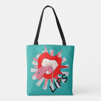 Pop Art Funky Bold Red Lips Mouth Piercings Tote Bag
