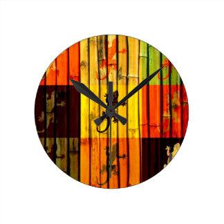 Pop Art Geckos on bamboo wall Art Design Round Clock
