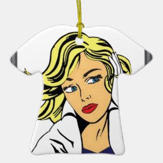 Pop art girl vector design christmas ornament