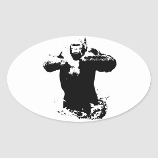 Pop Art Gorilla Beating Chest Oval Sticker