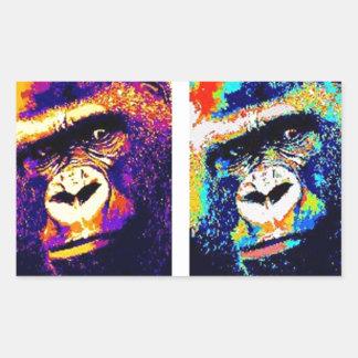 Pop Art Gorillas Rectangular Sticker