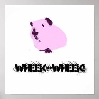 Pop art graffiti style pink guinea pig poster