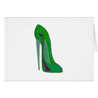Pop-Art Green and Black Stiletto Shoe Card
