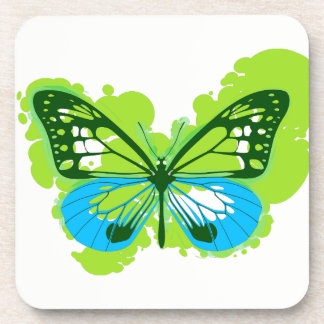 Pop Art Green Butterfly Coasters