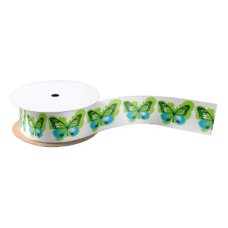 Pop Art Green Butterfly Satin Ribbon
