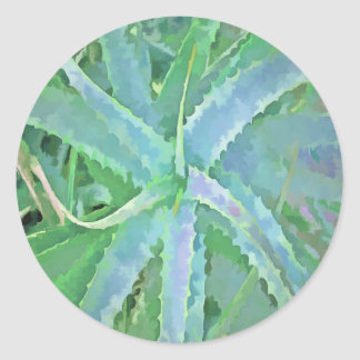 Pop Art Grey Green Aloe Classic Round Sticker