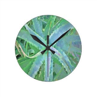 Pop Art Grey Green Aloe Round Clock