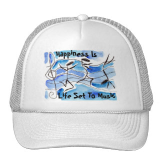 Pop Art Hat ~ Happiness Is Life Set To Music